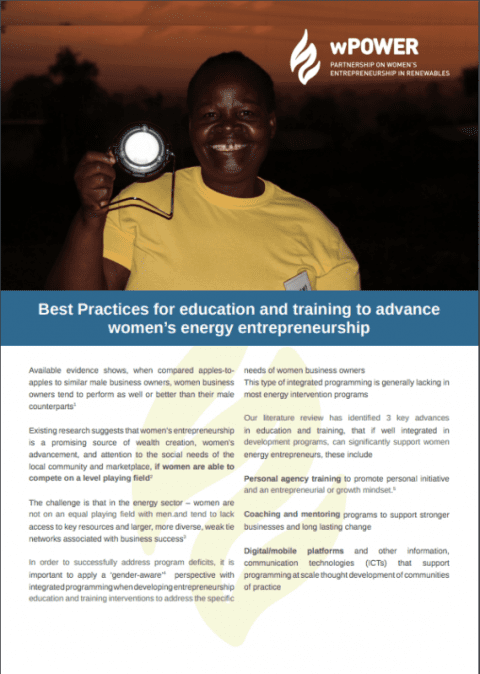 Best Practices for Education and Training to Advance Women's Energy Entrepreneurship