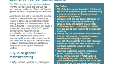 GCF insight: Gender mainstreaming