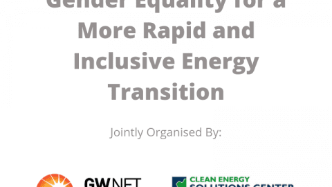 Webinar Series: Gender Equality for a More Rapid and Inclusive Energy Transition