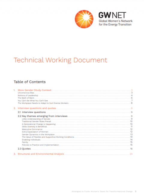 GWNET Study: Technical Working Document