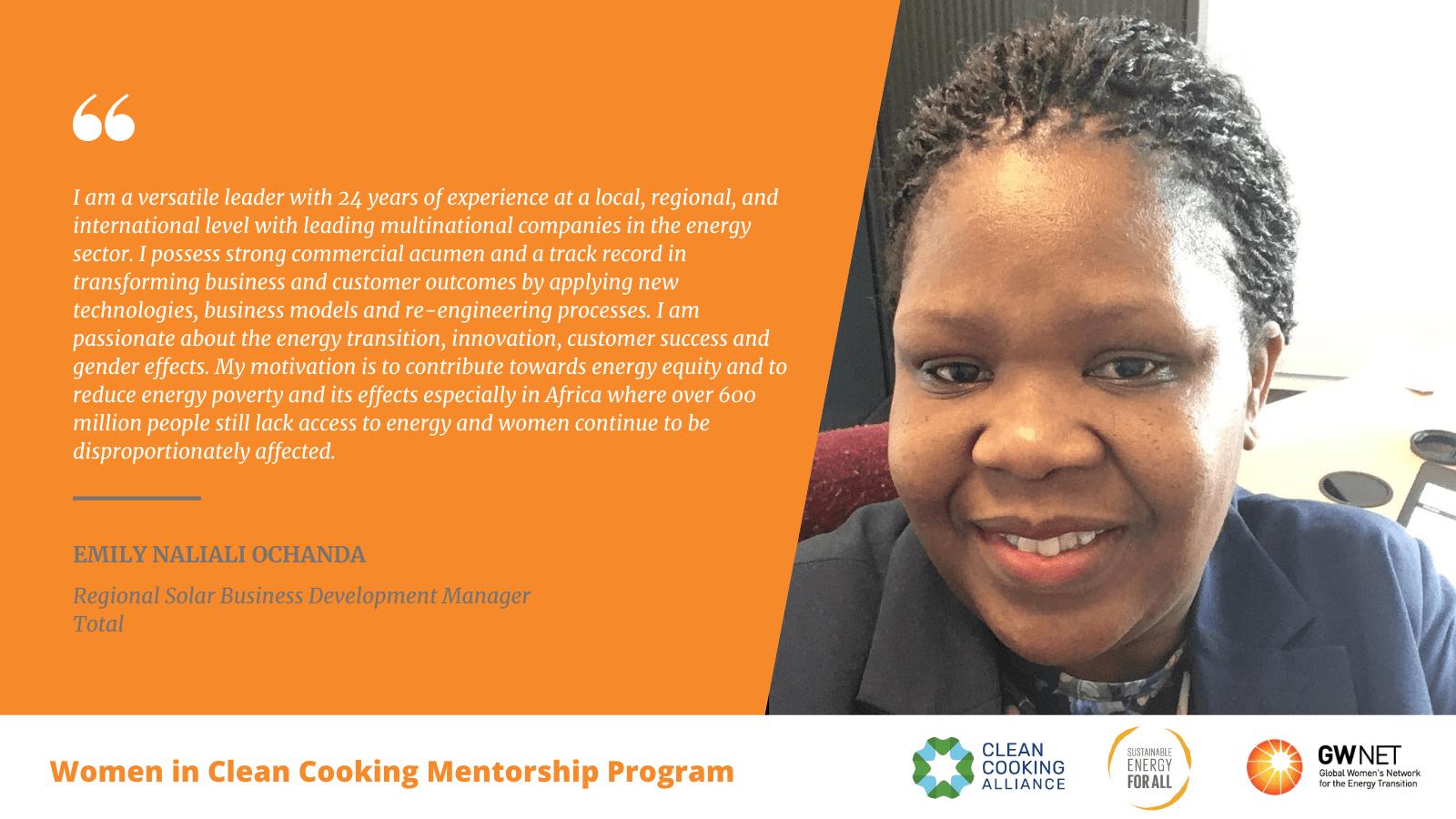 Emily Ochanda Women in Clean Cooking Mentorship Program