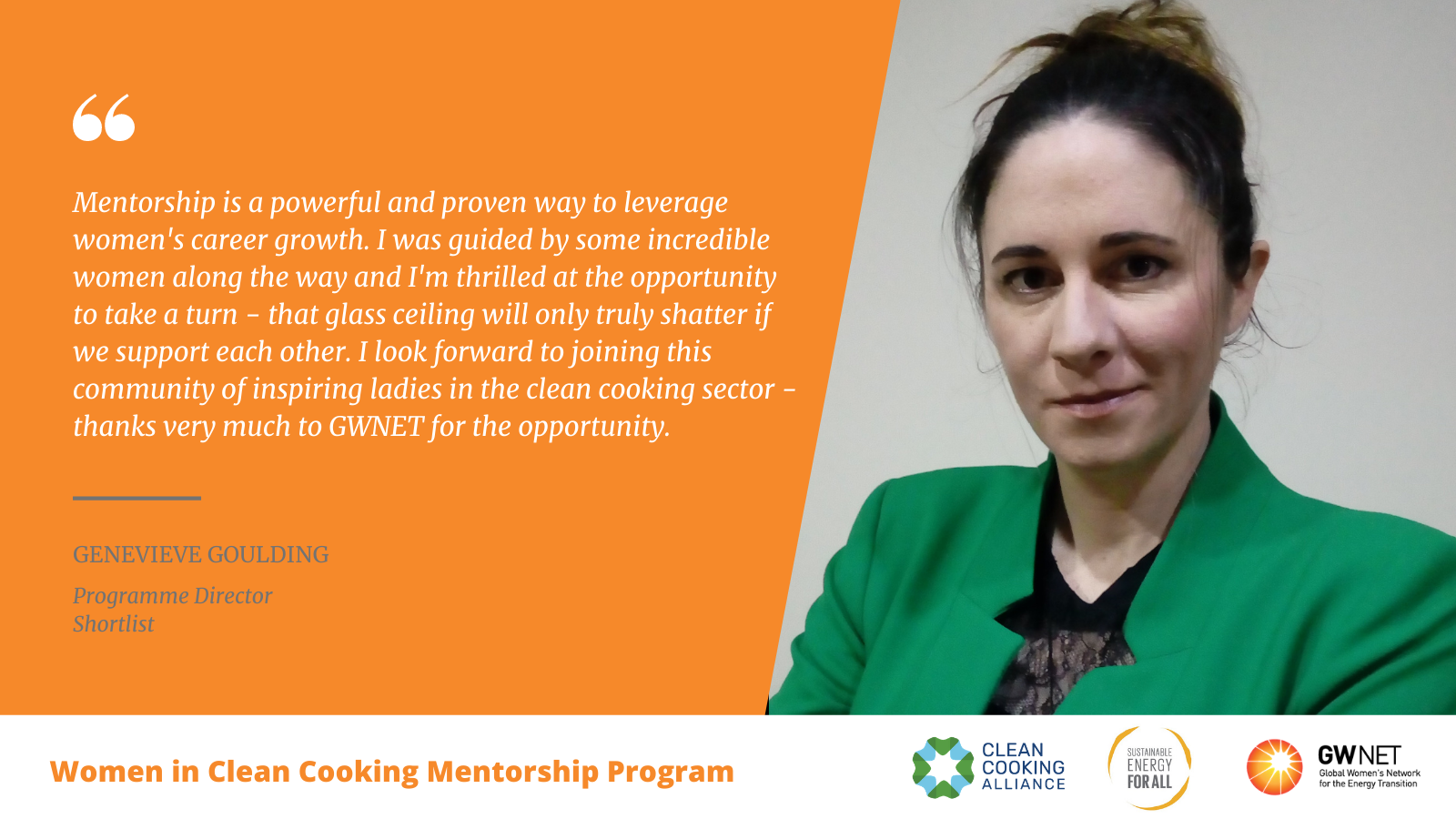 Genevieve Goulding Women in Clean Cooking Mentorship Program