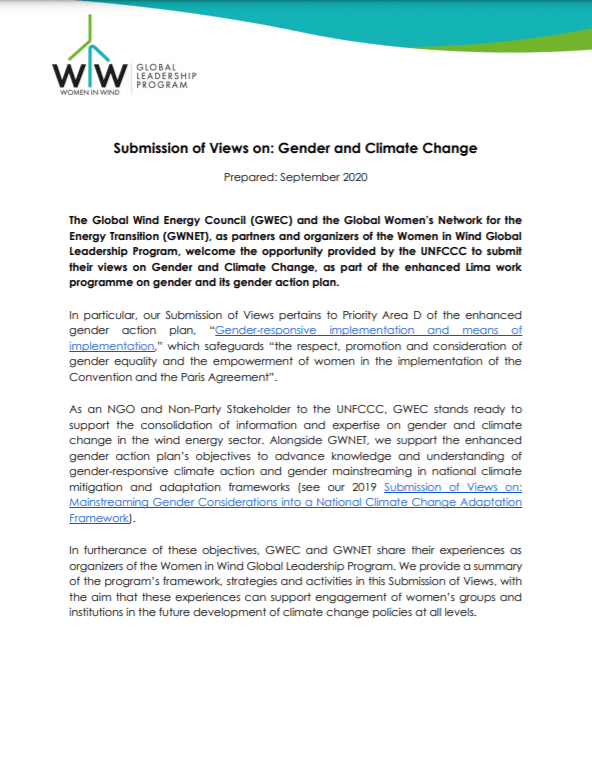 UNFCCC Submission of Views
