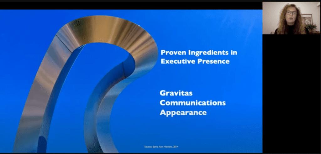 screenshot of presentation slide and key speaker