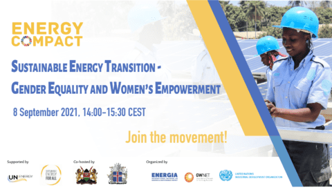 Poster with text, partner logos, and women at a solar plant