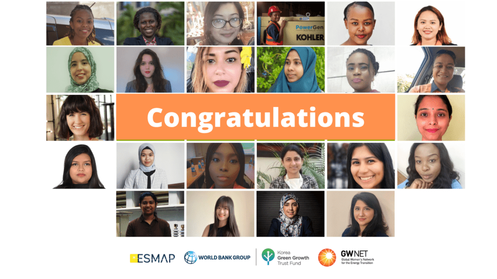 Headshot photos of mentees, with organiser logos and congratulations message